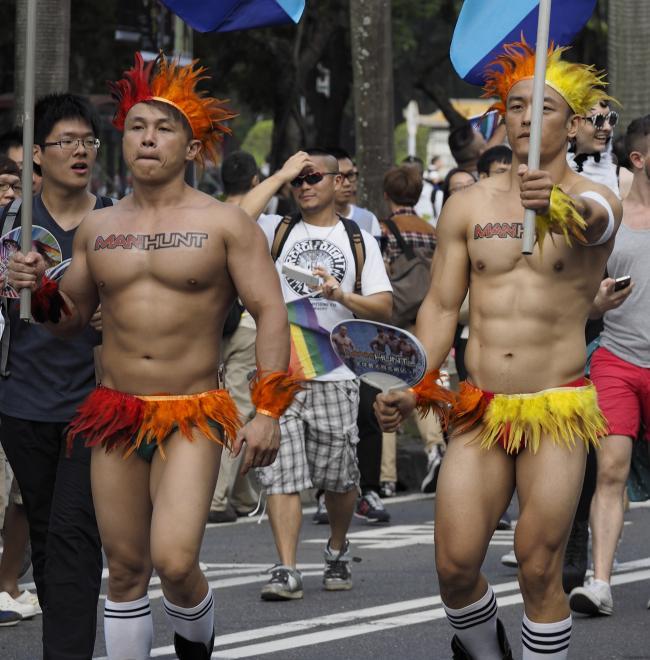 Participants wearing costumes parade first bangkok gay editorial stock photo